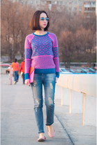 hot pink wool J Crew cardigan - blue cotton Zara jeans