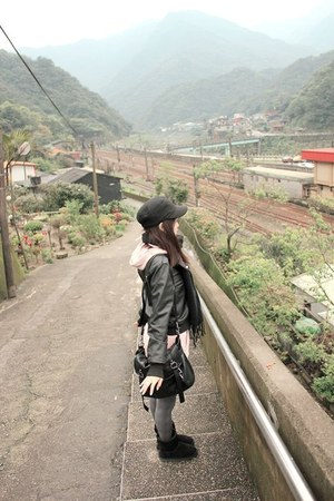 black Ugg boots - black leather jacket - heather gray plaid tights - black scarf