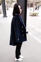 navy coat - sky blue Shana shirt - black Zara pants - white heels
