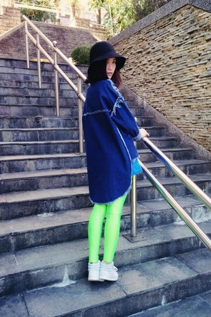 navy coat - black hat - lime green H&M leggings - light blue sneakers