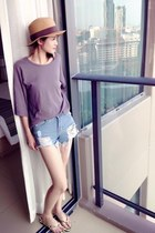 sky blue shorts - puce t-shirt - yellow sandals