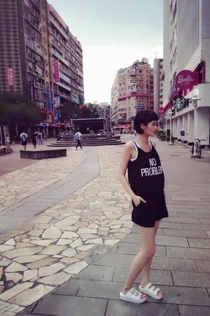 black bodysuit - white sandals