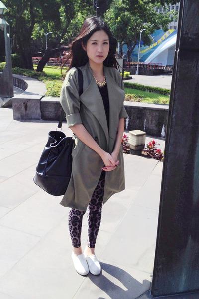 olive green coat - white shoes - dark brown leopard print leggings