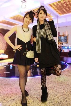 black boots - black dress - black lace leggings