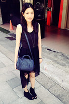 navy Zara bag - black dress - silver Urban Outfitters necklace - black wedges