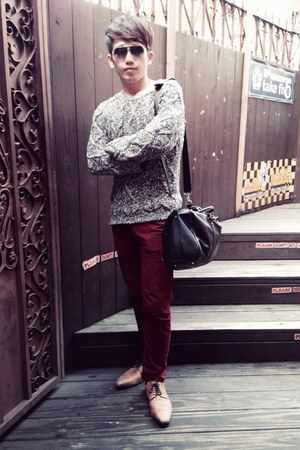 light brown leather shoes - brick red jeans - charcoal gray sweater