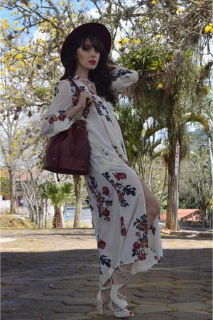 Rosegal dress - burgundy gash bag - heels Tanara sandals