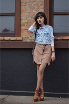 Flor Linda skirt - denim shirt MondaBelle shirt - leather Parô heels