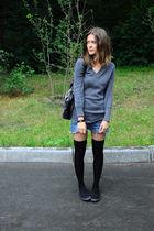 gray Zara sweater - blue handmade shorts - black Sisley socks - black Topshop sh
