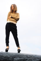 brown Zara jumper - beige Newlook top - black Zara pants - black Givenchy boots