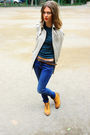 White-zara-coat-blue-topshop-jeans-green-sisley-top-orange-topshop-boots