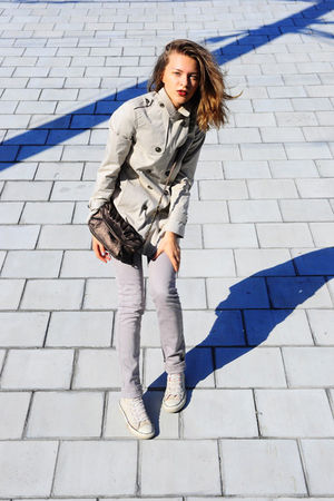 white Zara coat - white Cheap Monday jeans - white Converse shoes - brown Promod