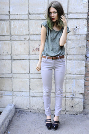green Mango top - beige Cheap Monday jeans - brown Zara belt - black Givenchy bo