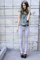green Mango top - beige Cheap Monday jeans - brown Zara belt - black Givenchy bo