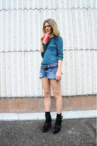green Sisley top - blue handmade shorts - brown Zara belt - black Givenchy boots