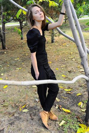 black Queens Wardrobe blouse - black Zara pants - orange Topshop boots