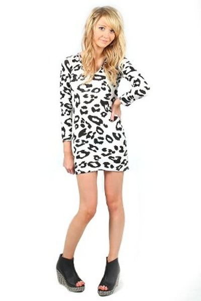 Lyst versus leopard print silk chiffon dress in white black white zebra animal print bodycon dress