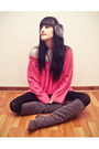 Charcoal-gray-long-suede-ebay-boots-hot-pink-oversized-flee-market-sweater-h