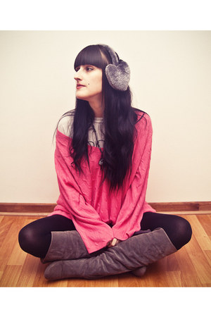 charcoal gray long suede Ebay boots - hot pink oversized flee market sweater