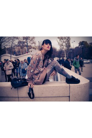 peach snake print Topshop tights - light pink leopard print new look cardigan