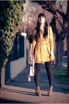 tan Jeffrey Campbell boots - mustard retro pattern Ebay dress