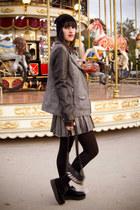 heather gray plaid Leatherette sleeves jacket jacket