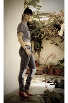 navy patchwork Fes jeans - beige katrina printed bag - navy cropped Esprit blous
