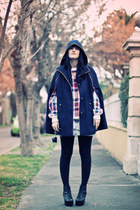 black platform litas Ebay boots - ivory tartan vintage sweater