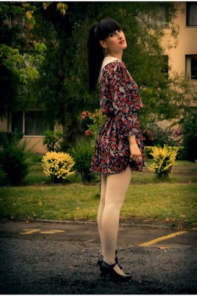 off white asos tights - black vintage dress - black laced Melissa heels