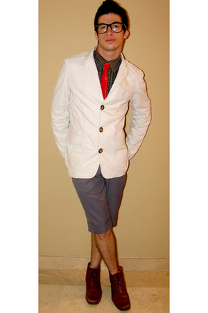 white Color Siete blazer - brown shoes - gray shorts - pull&bear shirt - red tie