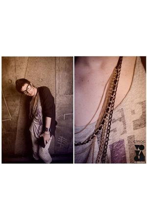 black pull&amp;bear cardigan - black Ray Ban glasses - gold DIY necklace - beige Die