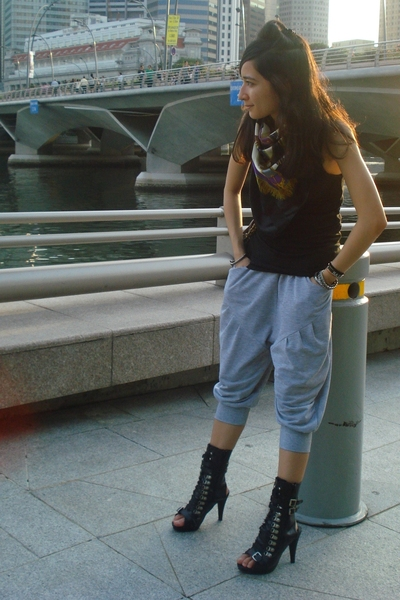 flea market scarf - seed t-shirt - City Plaza pants - Bugis Village purse - urba