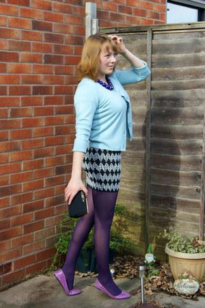 deep purple tights - black skirt - light blue cardigan - white skirt