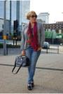 Silver-skinny-jeans-primark-jeans-magenta-wwwebaycouk-scarf-vintage-cardigan