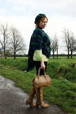chartreuse top - black leggings - brown vintage bag