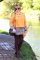 orange swing jacket blazer - dark brown boots - dark green vintage handbag bag