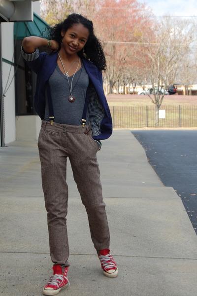 navy Urban Outfitters blazer - gray American Apparel shirt - blue Gucci bag - bl