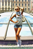 lvuitton bag purse - grey boots boots - scarf - shorts - grey tank top top