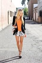 blazer - purse - black and white shorts - sunglasses - orange top - heels