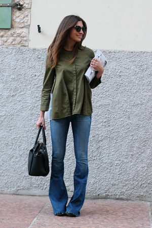 olive green Hache jacket - blue Hudson jeans - black Accessorize bag