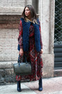 Navy-zara-boots-red-nanà-dress-navy-nanà-jacket-army-green-accessorize-bag