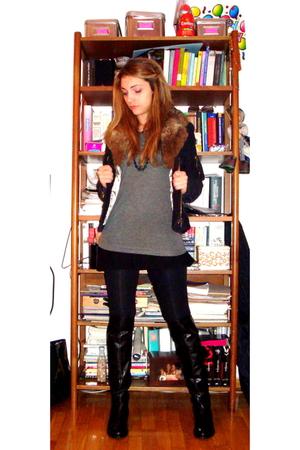 black boots - gray Massimo Dutti blouse - black Promod blouse - Pepe Jeans jacke