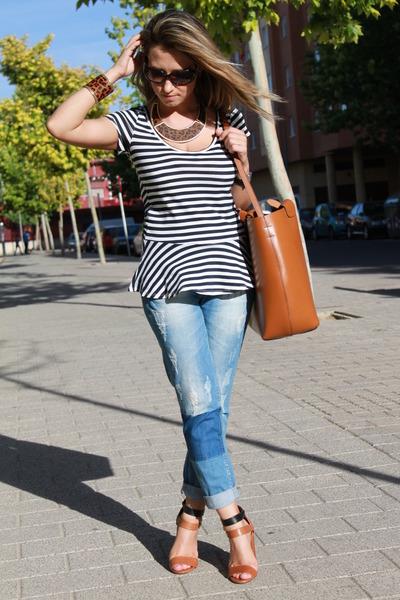 Zara top - suiteblanco jeans - Zara bag - Ralph Lauren sunglasses