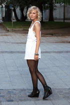 white top - bra - shoes - accessories