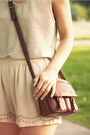 Brown-secondhand-purse-beige-h-m-shorts-beige-bikbok-top