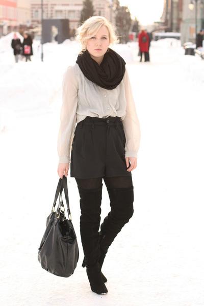 scarf - shoes - coat - bag - shorts - blouse