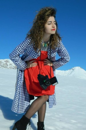 black Promod boots - red Zara dress - blue fay coat - gold Secondhand necklace