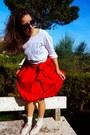 Red-lovely-zara-dress-white-cotton-margiela-t-shirt-clock-primark-ring
