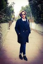 black Reebok shoes - black Forever 21 coat - navy Zara jeans - black H&M sweater