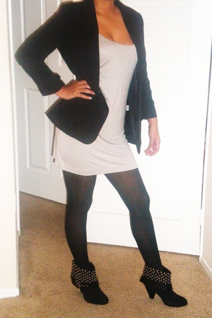 black Fashions Of Echo blazer - beige Forever 21 dress - black Target tights - b